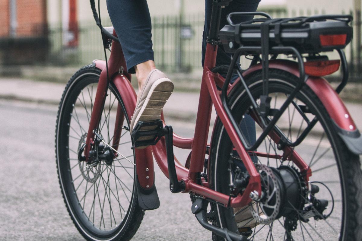 Red electric city bike